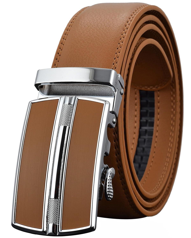 Leather Belts for Men's Ratchet Dress Belt Black Brown with Automatic Buckle REGITWOW 170426-5-04