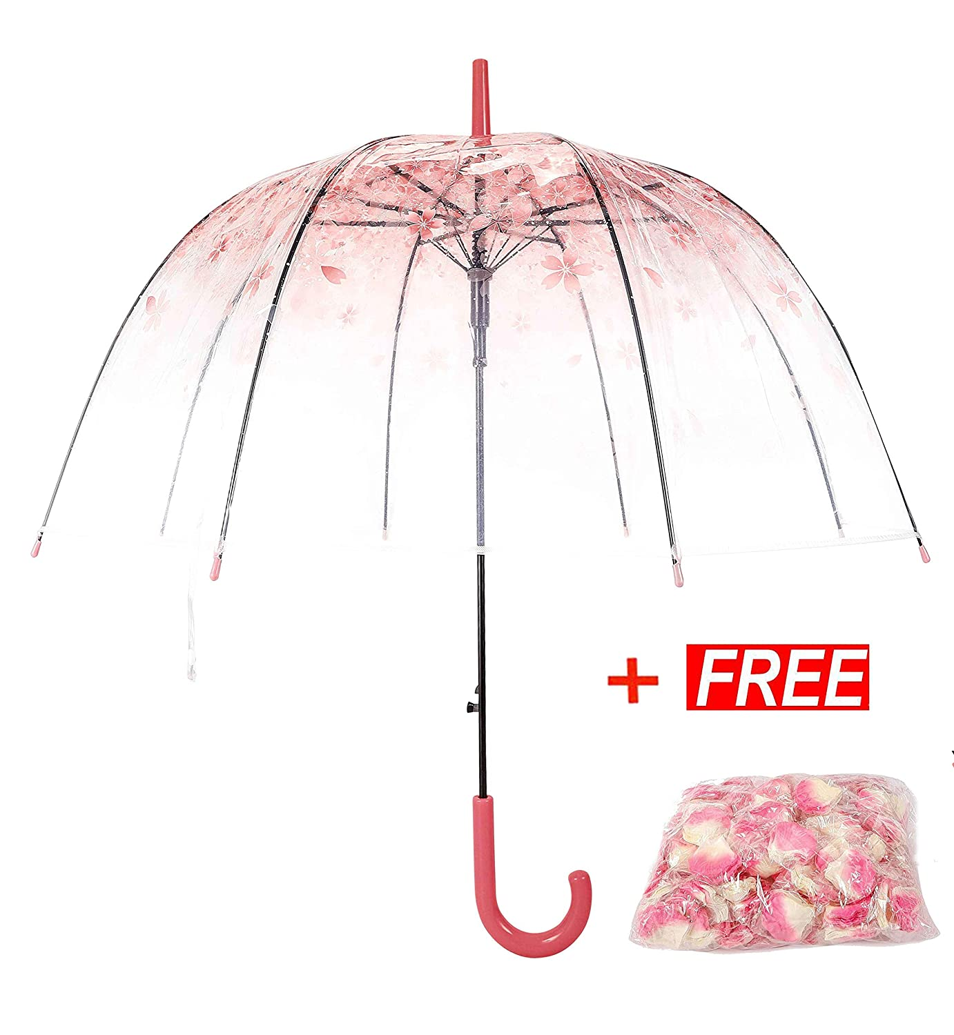 Tdogs Clear Umbrella with Free 100 Pcs Romantic Flowers,Bubble Umbrella Dome Transparent Cherry Automatic Umbrellas for Rain