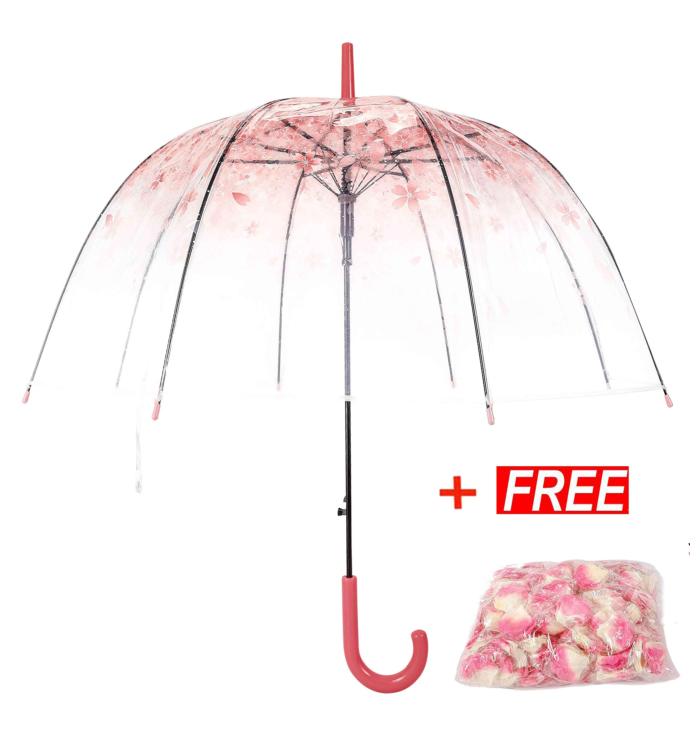 Tdogs Clear Umbrella with 100 Pcs Romantic Flowers,Bubble Dome Transparent Cherry Automatic Windproof Rain Umbrellas for Wedding