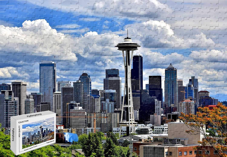 Amazon Com 500 Piece Jigsaw Puzzle Free Seattle Skyline Premium Basswood 20 6 X 15 1 Inch Toys Games