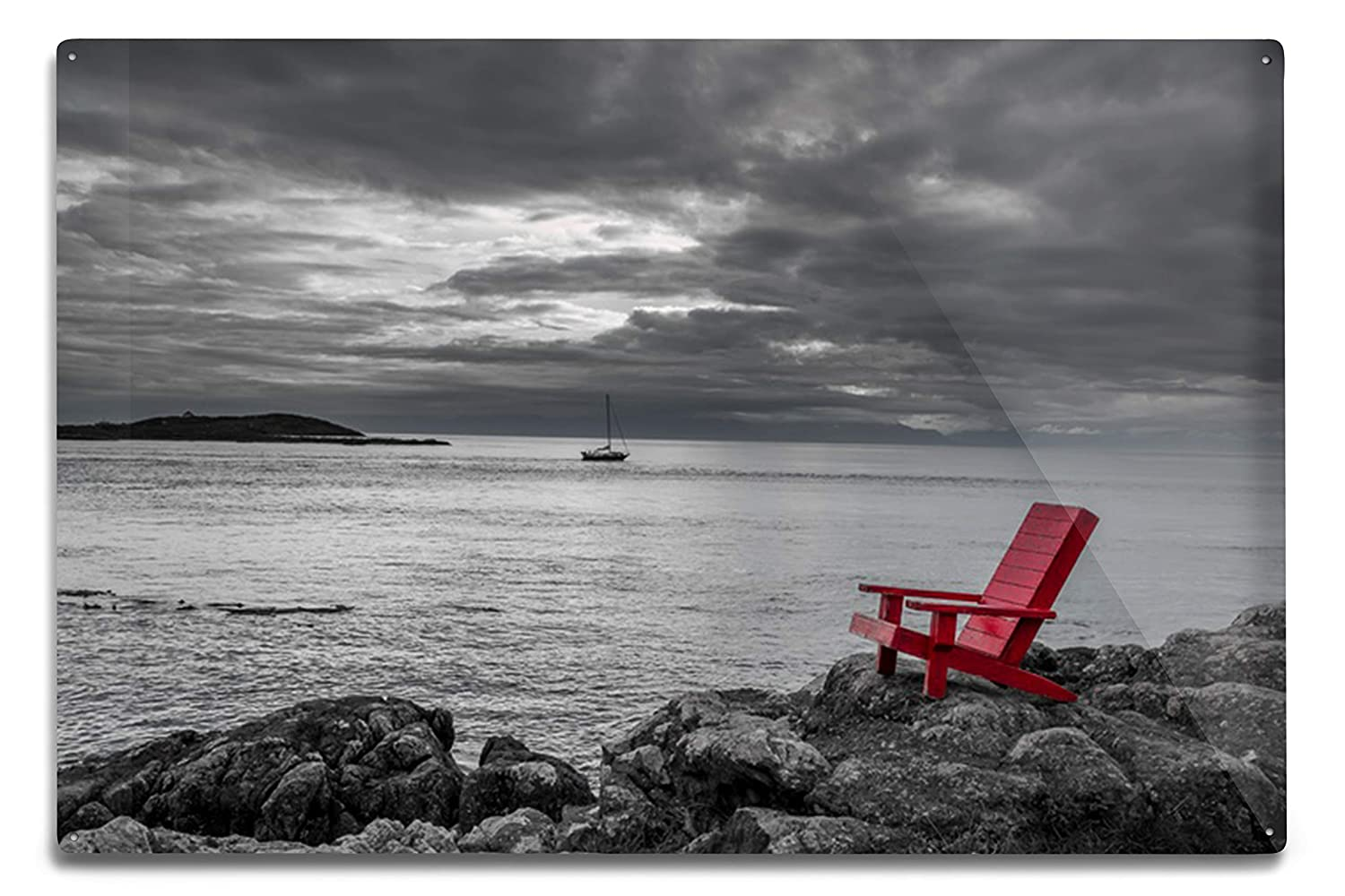 Amazon com lantern press red chair contrasting with black and white