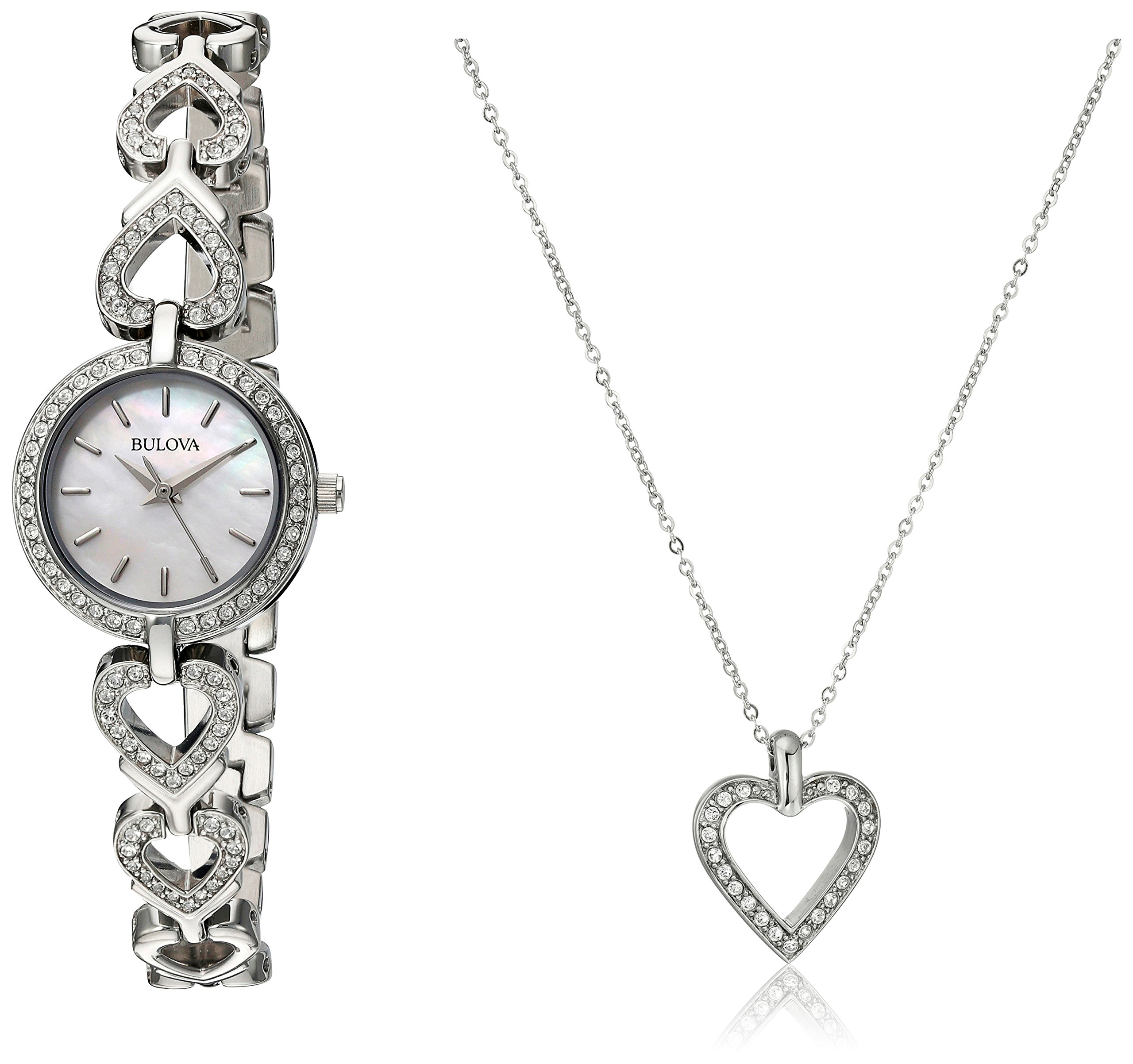 Bulova Women's 96X136 Swarvoski Crystal Box Set with Heart Pendant Necklace