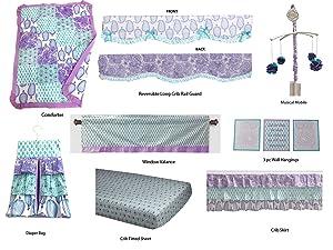 Bacati - Sophia Paisley 10 Pc Girls Crib Baby Bedding Set Including Crib Rail Guard 100 Percent Cotton. (Lilac/Purple/Aqua)
