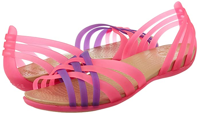 446e050a571a crocs Women s Huarache Flat Vibrant Pink and Neon Purple Rubber Ballet Flats  - W11  Buy Online at Low Prices in India - Amazon.in