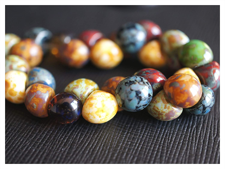 25 pcs Czech Glass Mushroom Button Beads 9x8mm Mix Travertine Preciosa Ornela