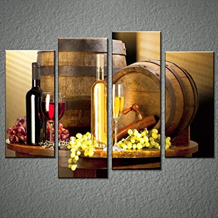 Grape And Wine Canvas Wall Art  Framed Wine Canvas Print Art For Kitchen,  Bar