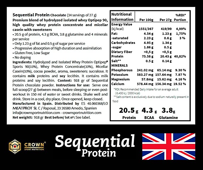 Crown Sport Nutrition Sequential Protein, Suplemento de proteína para antes de dormir para Deportistas, Sabor de Chocolate - 918 gr: Amazon.es: Salud y ...