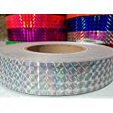 "60 ft. roll of 1"" Silver Metallic Holographic Hula Hoop Tape"