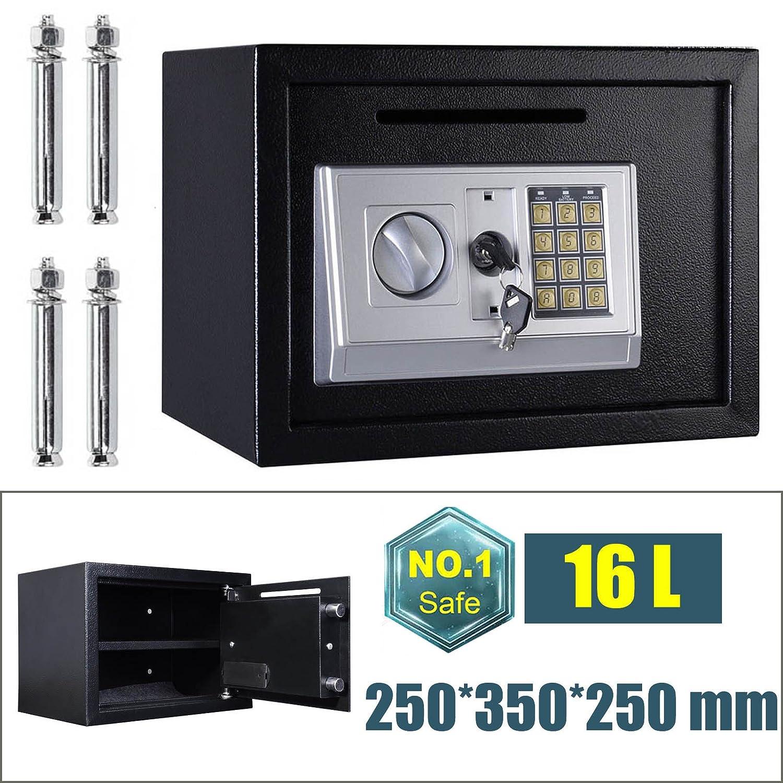 Caja de Seguridad de Acero de Alta Seguridad 16 DE 16 Seguridad litros, Caja de Almacenamiento de Dinero en Efectivo con 2 Llaves de sobrescritura (Negro) 5df391