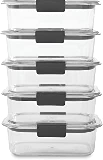 product image for Rubbermaid Brilliance Food Storage Container, BPA free Plastic, Medium, 3.2 Cup, 5 Pack, Clear