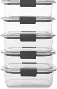 Rubbermaid Brilliance Food Storage Container, BPA-free Plastic, Medium, 3.2 Cup, 5-Pack, Clear