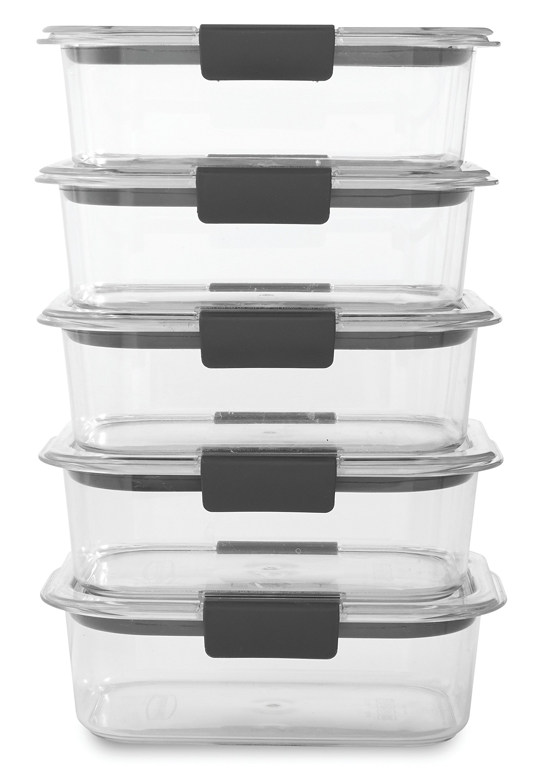 Rubbermaid Brilliance Food Storage Container, BPA-free Plastic, Medium, 3.2 Cup, 5-Pack, Clear by Rubbermaid (Image #1)