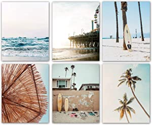 """Summer California Scenery Beach Palm Coastal Wall Art Prints Set of 6 (8""""X10"""" Canvas Picture) Blue Sea Retro Wall Surfboard Art Painting for Office Wall Art Posters, Bedroom Home Decor, No Frame"""