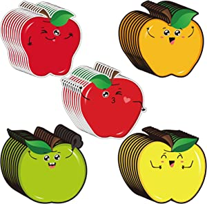 45 Pieces Fruit Apples Cutouts Accents Colorful Fruit Name Tag Name Plate Label Bulletin Board Supplies with 100 Pieces Adhesive Glue Point Dots for Toddler Kid Preschool Classroom Decoration