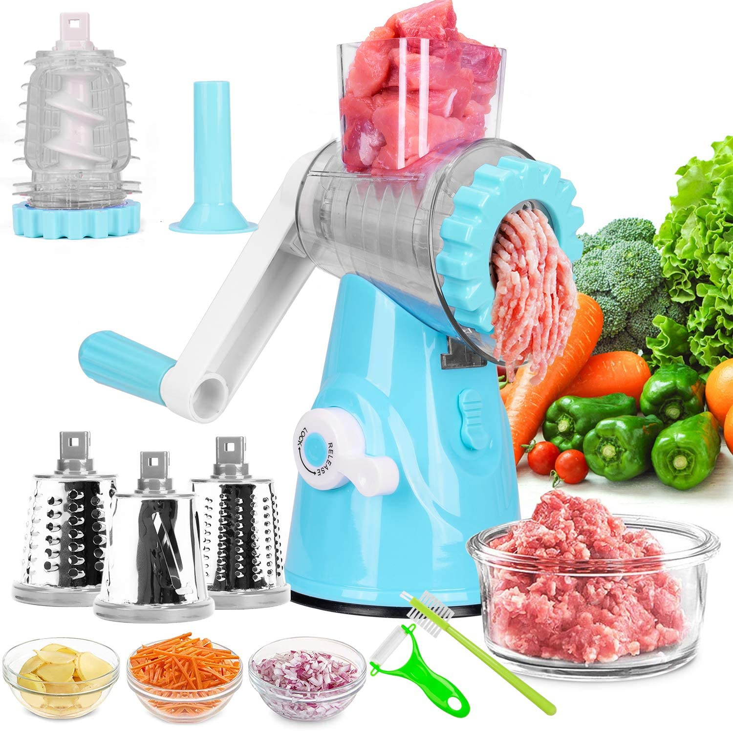 Meat Grinder, Rotary Cheese Grater, Kitchen Multi-Function Meat Grinder with Strong Suction Base, 4 Interchangeable Blades for Ground Meat, Sausage, Vegetables Fruit Slice, Shred, Nut Grind (Blue)