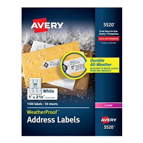 Amazon avery weatherproof mailing labels with trueblock avery weatherproof mailing labels with trueblock technology for laser printers 1quot x 2 5 saigontimesfo