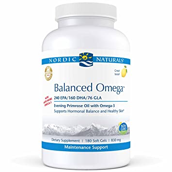 Nordic Naturals Pro Balanced Omega   Fish Oil And Evening Primrose Oil, 240 Mg Epa, 160 Mg Dha, 76 Mg Gla, Supports Hormonal Balance And Healthy Skin*, 180 Soft Gels by Nordic Naturals