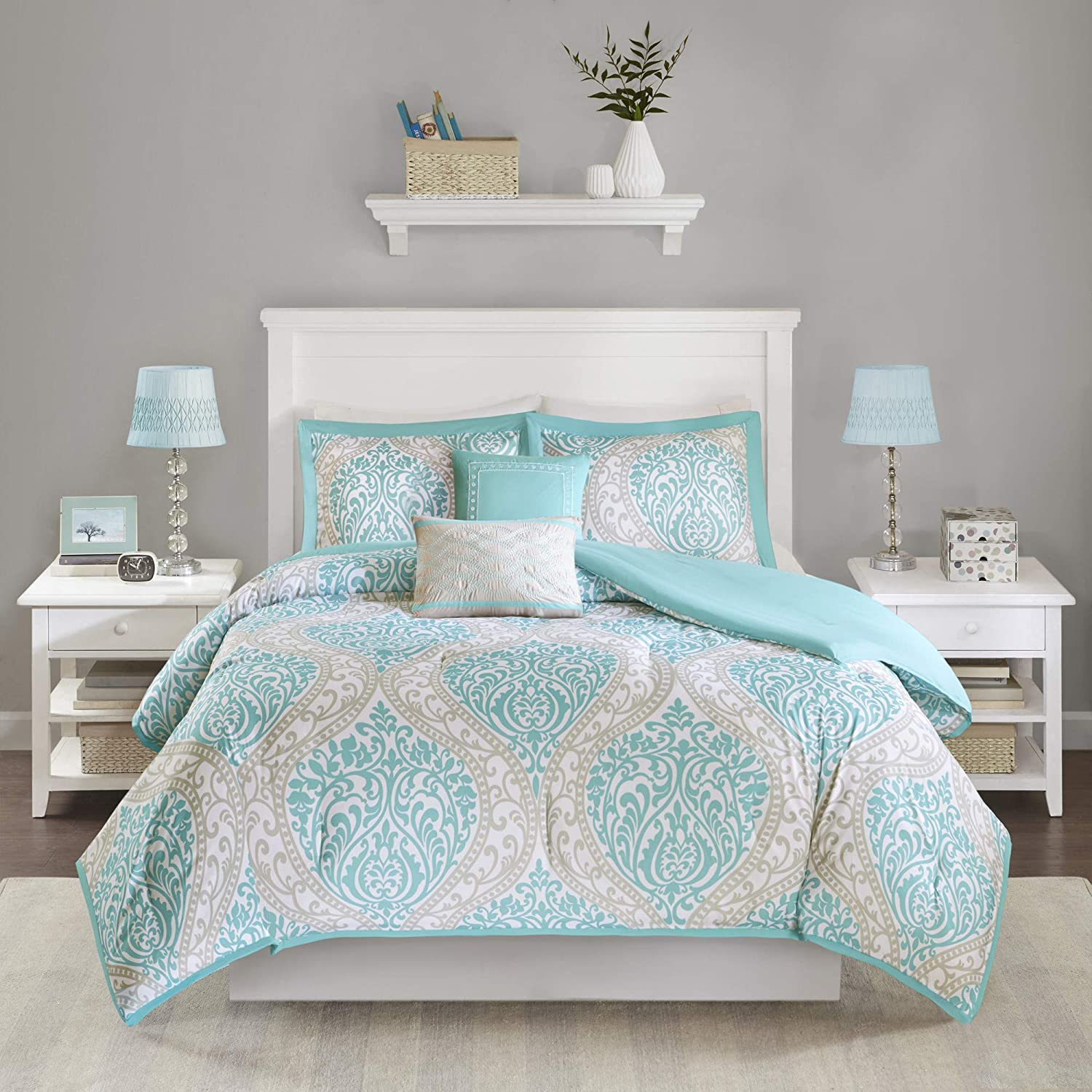 Home Essence Apartment 5 Pc Full/Queen Chelsea Ultra Soft Bedding Comforter Set in Aqua - Damask Print, Two Dec Pillows with Embroidery and Fabric Manipulation