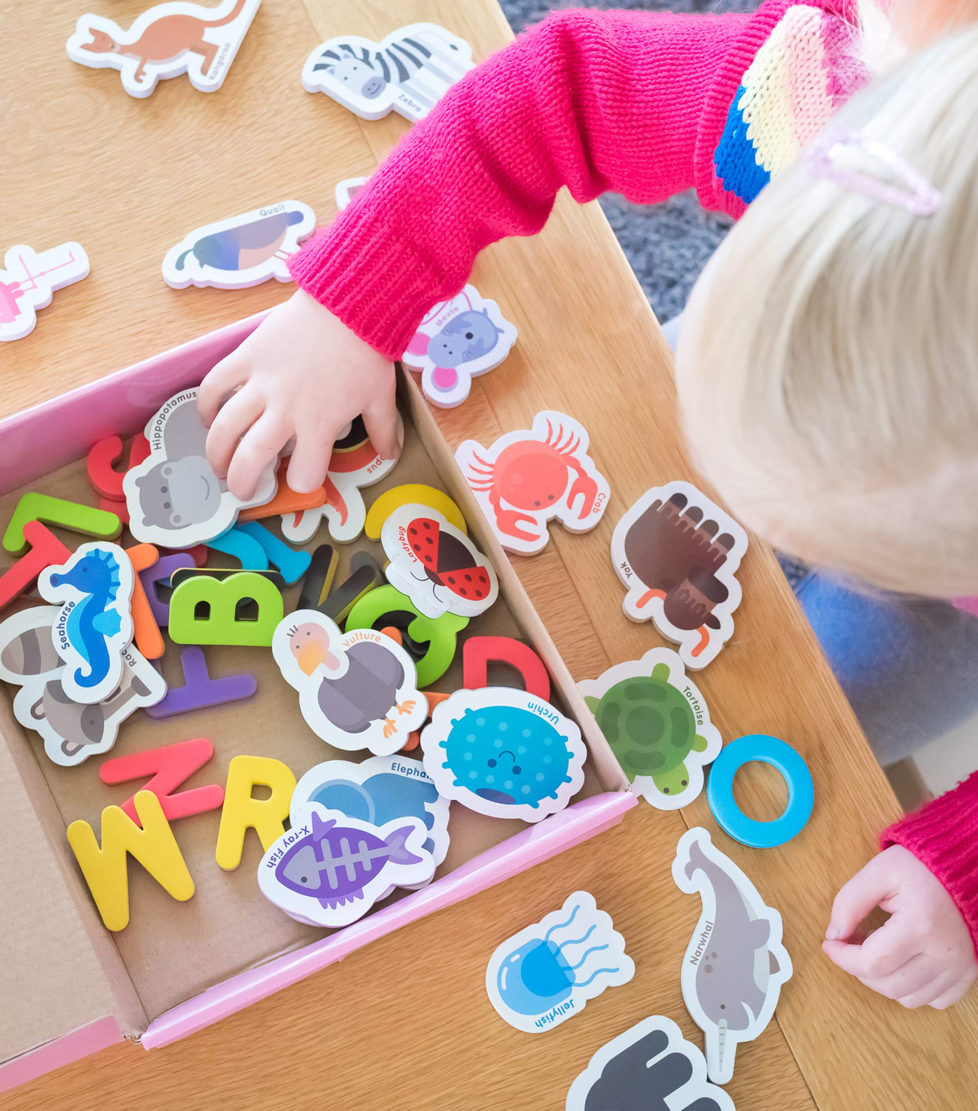 Curious Columbus Animal Magnets For Kids. Includes Alphabet Letters. Set of 52 Pieces. Foam Educational Magnetic Toy Objects For Word Recognition. 26 Picture Fridge Magnets and 26 ABC Letters From A-Z by Curious Columbus (Image #5)