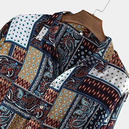 Camisa Vintage Hombre Manga Larga Camisetas Manga Larga con Botones Grandes Y Altos Impresos Camisetas Sueltas Casuales Camisas Tops Estilo Vintage Étnico Estampada Suave Y Transpirable BuyO