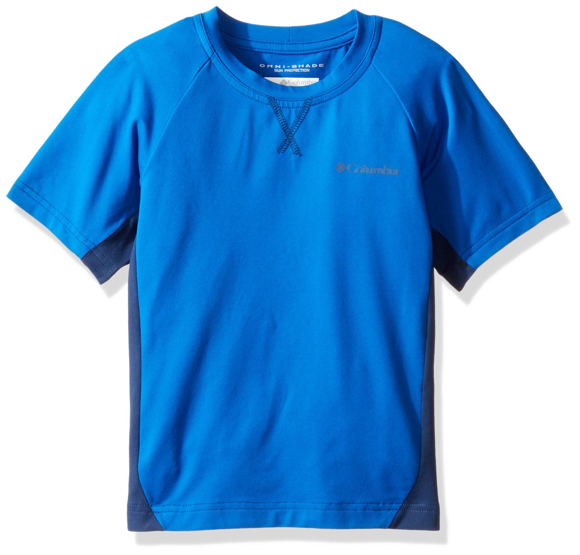 Columbia Boys Silver Ridge Short Sleeve Tee, X-Small, Super Blue, Carbon by Columbia
