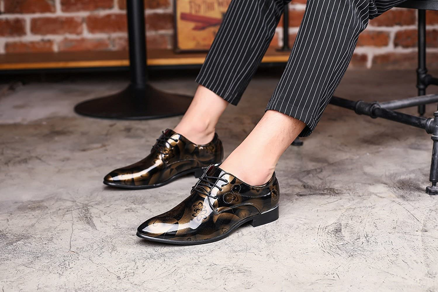 Business Wedding Formal Patent Leather Casual Lace Floral Red Gray 5.5-13 JOYTO Mens Dress Shoes Oxford