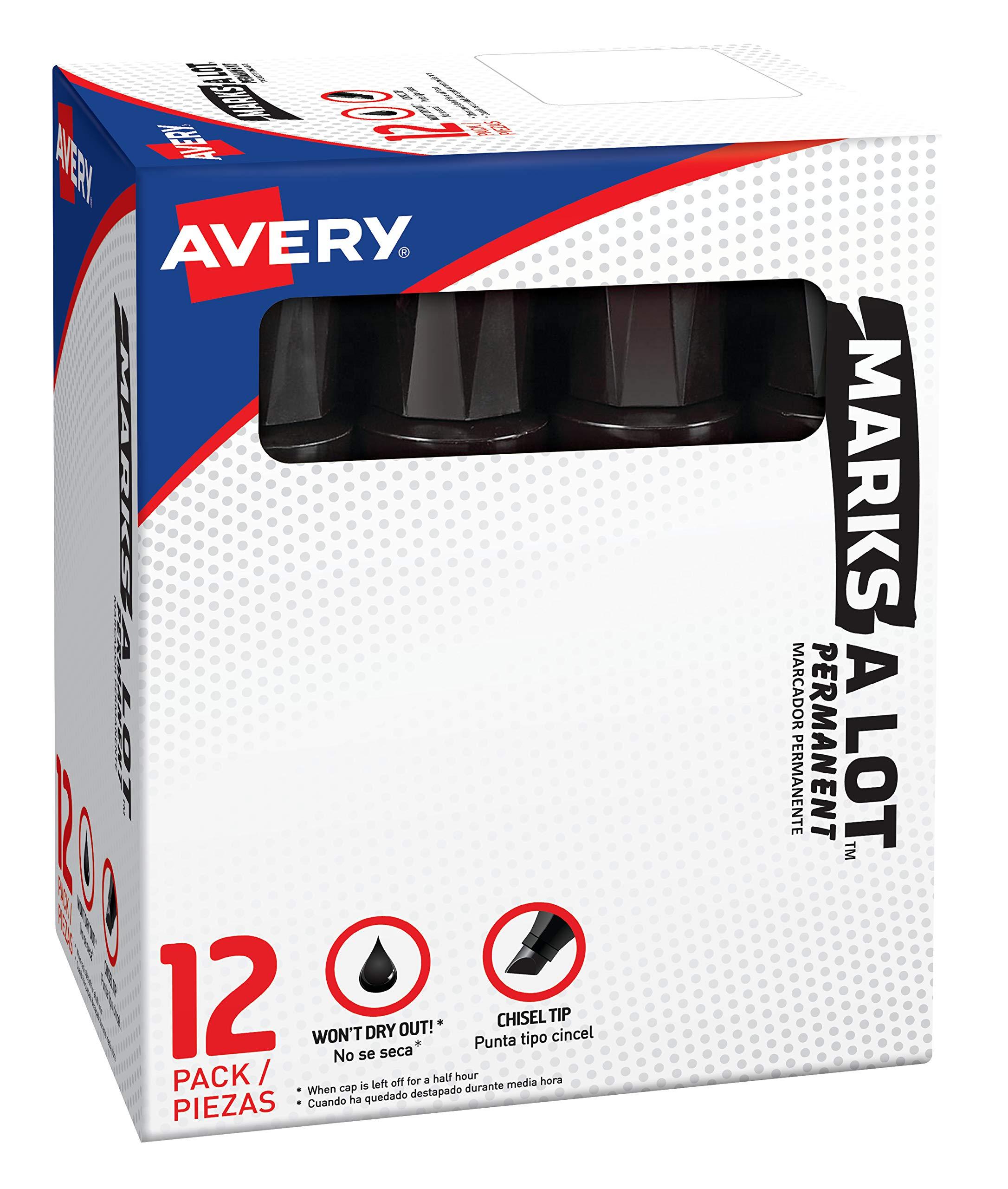 Marks-A-Lot  Jumbo Chisel Tip Permanent Marker, Black, 12 Pack (24148)
