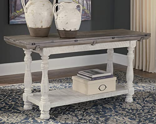 Signature Design by Ashley - Havalance Farmhouse Sofa Table, Whitewash Brown Wood