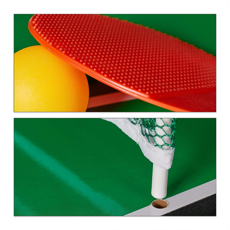 Multi Spieltisch braun -hockey /& Billard Relaxdays Multigame Tisch 4 in 1 -tennis Kinder /& Erwachsene Tischkicker