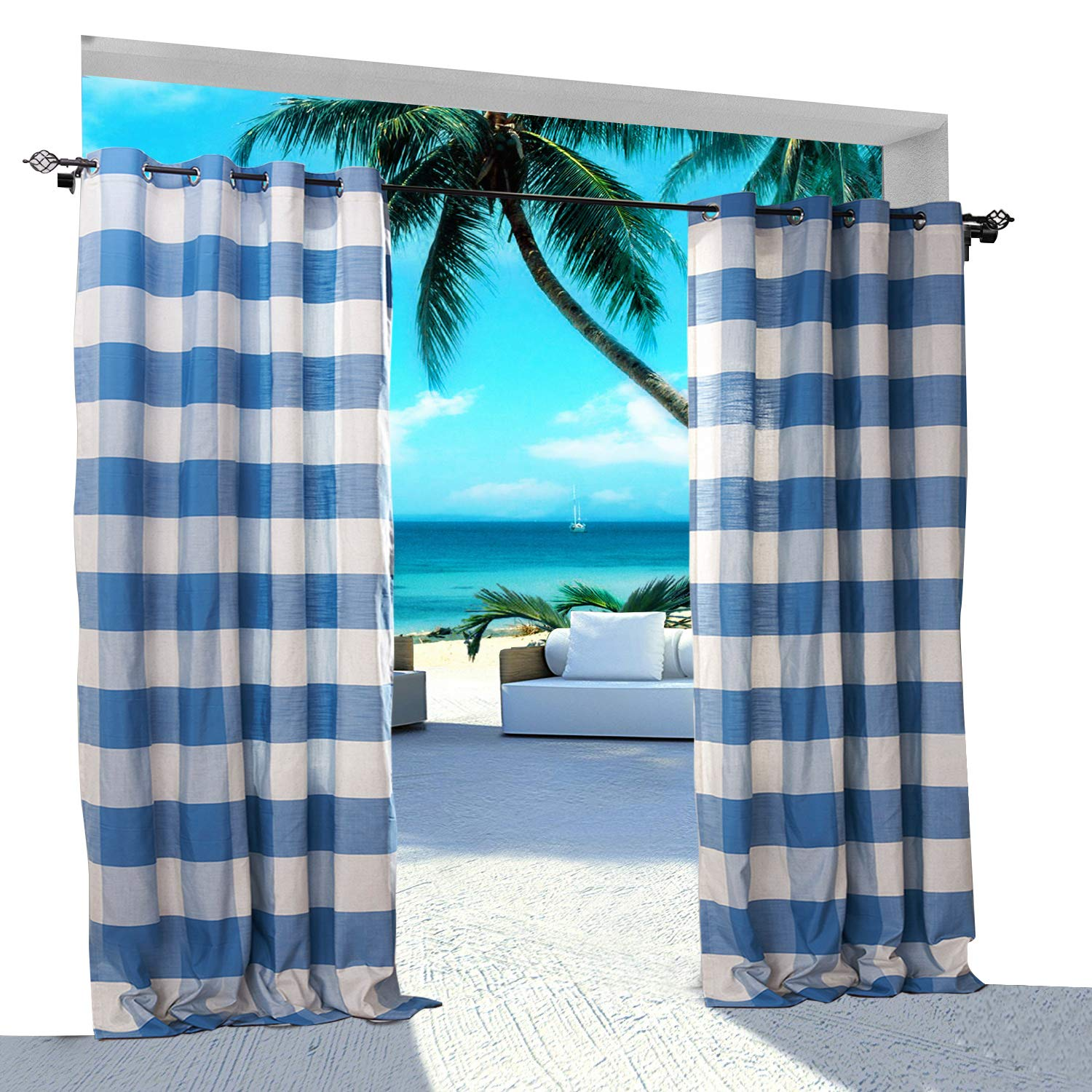 Extra Wide Gingham Plaid Outdoor Curtain 200'' W x 96'' L Eyelet Grommet For Traverse Rod at Front Porch Pergola Cabana Covered Patio Gazebo Dock and Beach Home WHITE BLUE