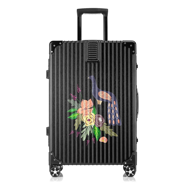 GSHCJ スーツケース カッコイイ動物 クジャク キャリーケース 20インチ おしゃれ ブラック Tsaロック搭載 プリント ハード 超軽量 軽い 機内持込 ロックファスナー 旅行 ビジネス 出張 海外 修学旅行 丈夫 便利 レディース メンズ 学生 B07RZ7QB62