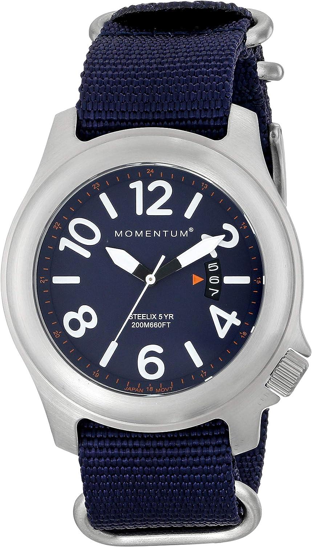 Momentum Men s Steelix Stainless Steel Japanese-Quartz Watch with Nylon Strap, Blue, 22 Model 1M-SP74U7U