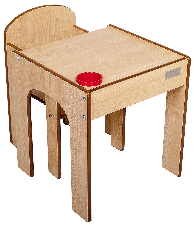 Little Helper Originale FunStation Gessati Bambino Set Banco e Sedia con la Penna / Spazzola Pot (Maple) Little Helper Ltd