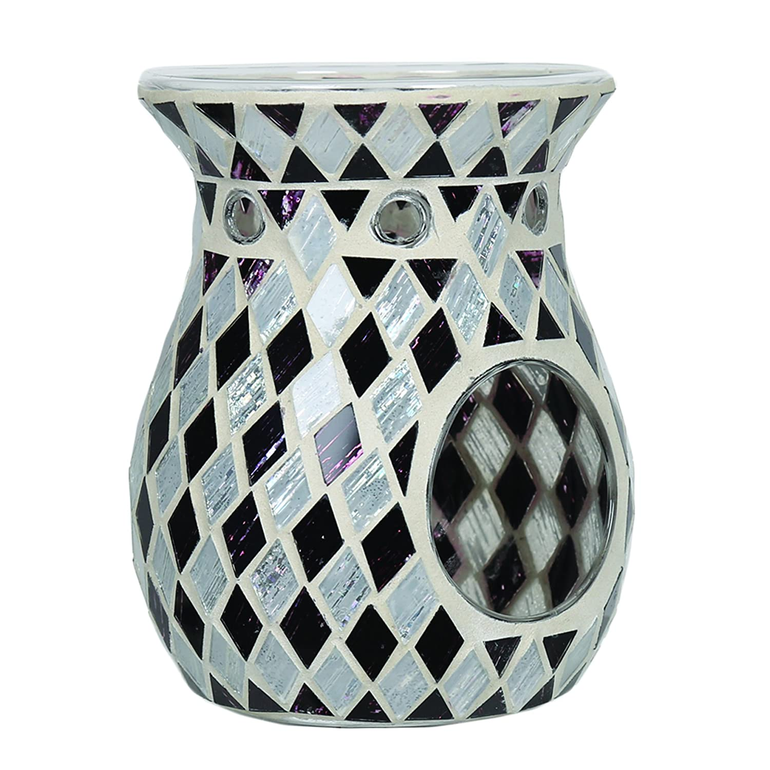 Aroma Accessories Diamond Mosaic Wax Melt Burner, Black, 14 cm VC756
