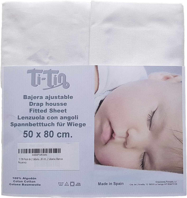 Ti TIN - Pack de 2 Sábanas Bajeras para Cuna o Minicuna 100 ...