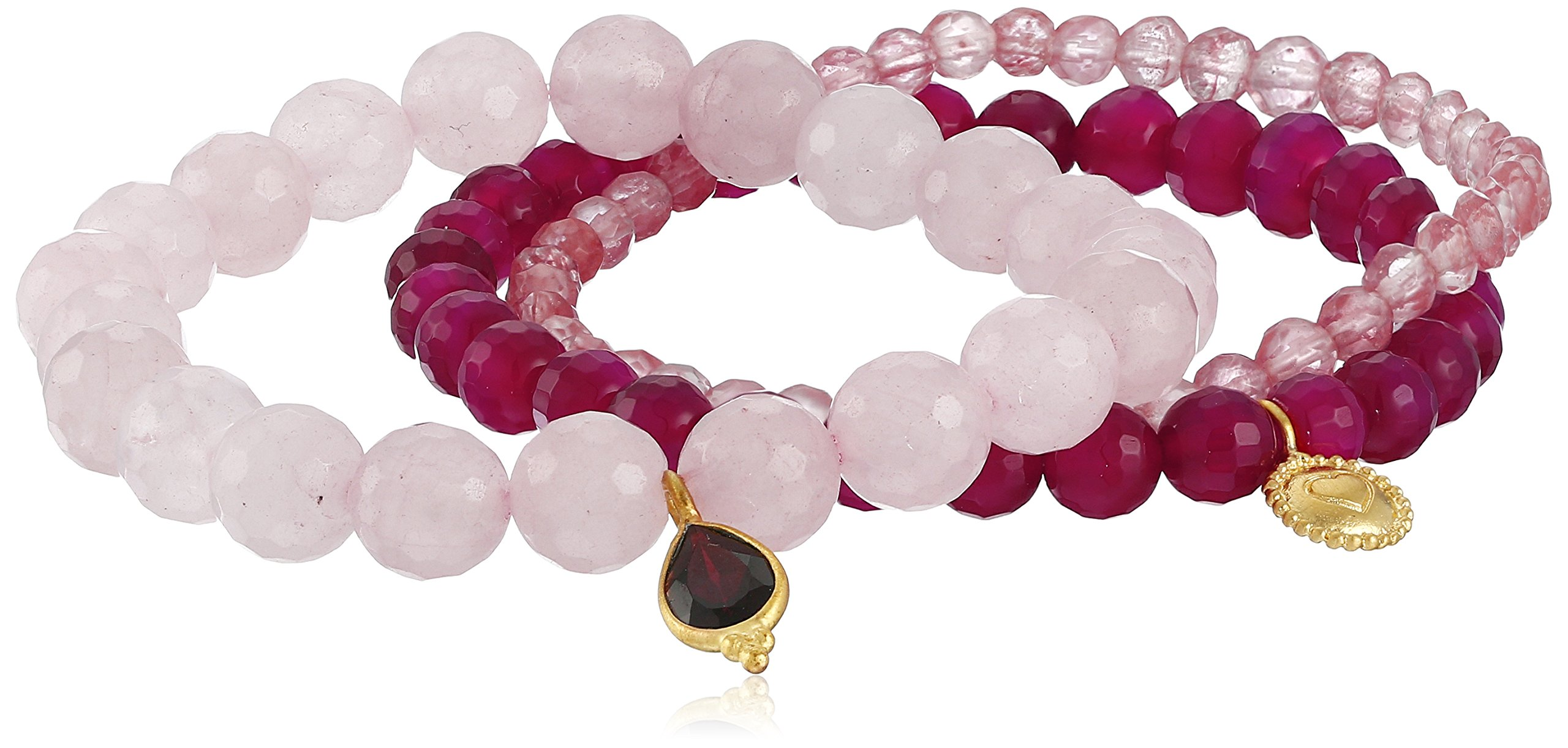 Satya Jewelry New Classics Cherry Quartz, Rose Quartz, and Garnet Loving Energy Stretch Bracelet Set by Satya Jewelry