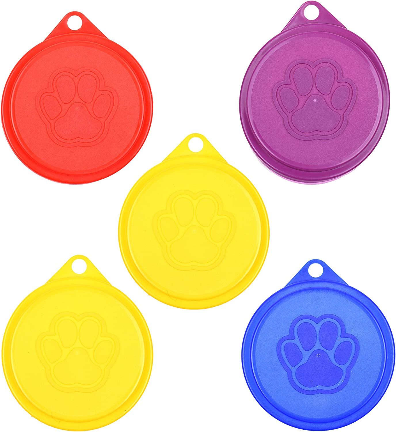 COSMOS Pack of 5 Pet Cat Dog Food Storage Can Covers Lids, Random Color