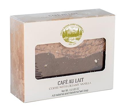 Pastilla de jabón de café con crema de vainilla (café con leche) (4Oz)- Artesanal y orgánico con aceites esenciales. Jabón corporal y facial hidratante.