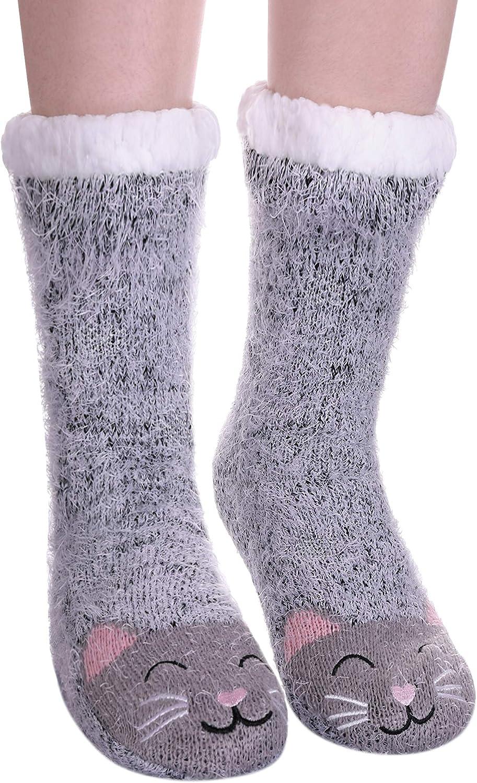 Womens Sherpa Winter Fleece Lining Knit Animal Socks Non Slip Warm Fuzzy Cozy Slipper Socks