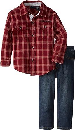 Calvin Klein Camisa a cuadros con vaqueros para niños ...