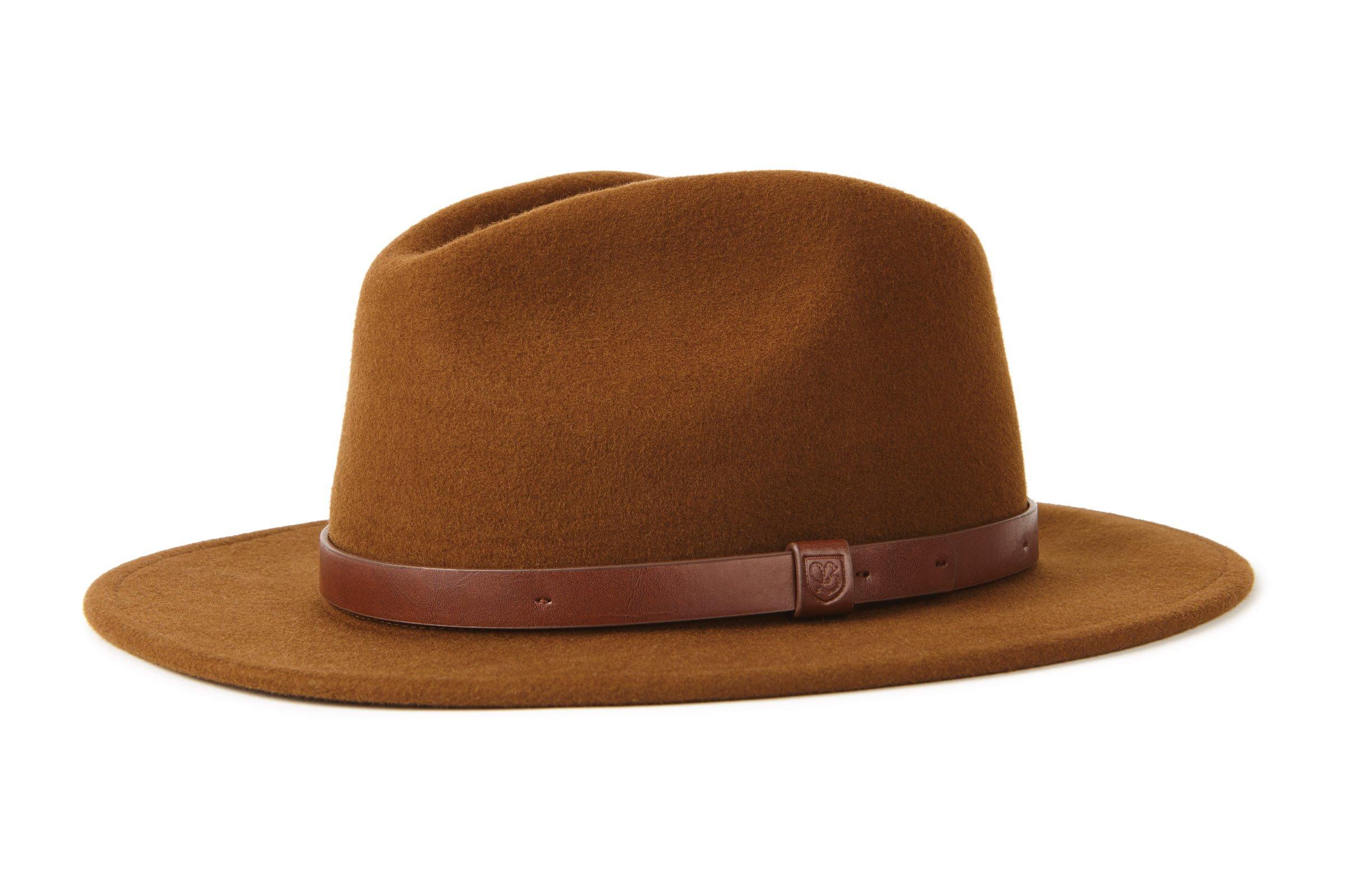 2464c396d6e646 Brixton Men's Messer Medium Brim Felt Fedora Hat, Coffee, Medium
