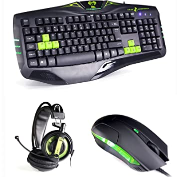 b336dd70f6f E-Blue Cobra Gaming Keyboard with Mouse and Headset - Green: Amazon ...
