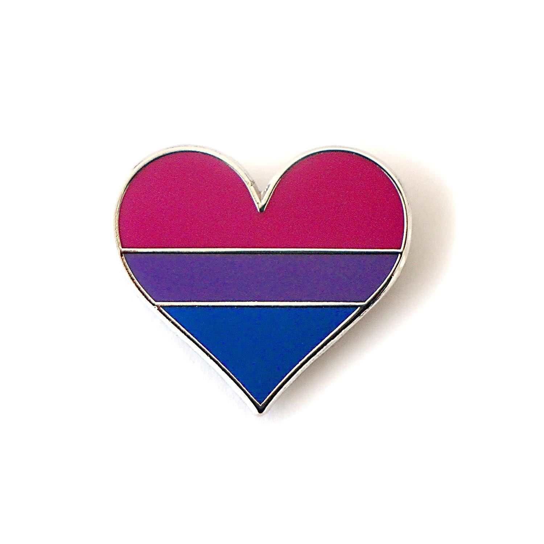 Compoco Pop Bisexual Pride Pin Bi Flag Enamel Lapel Heart Gay Pin Brooch