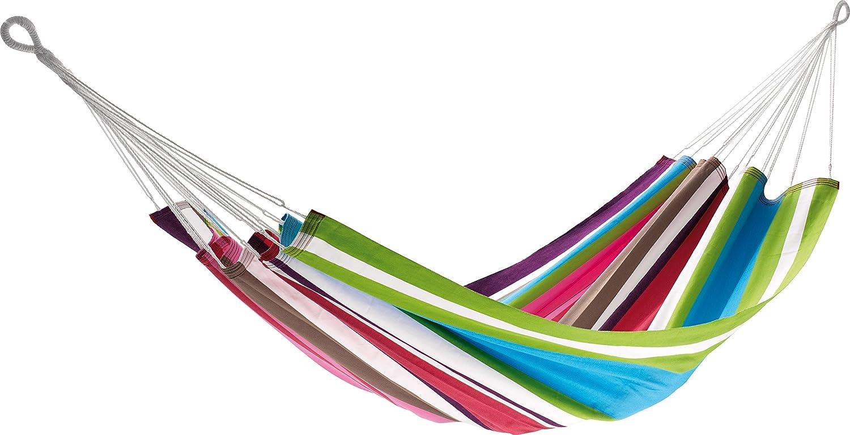JOBEK 25615Hamac à barre sans Antigua, 100% JobekCord, bleu clair/vert/rose/blanc