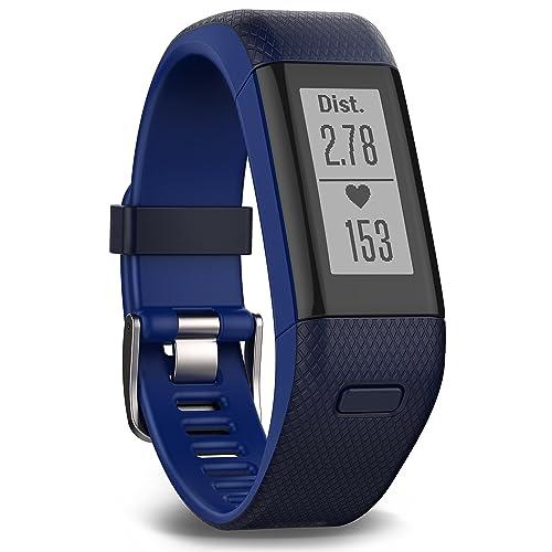 Garmin Vivosmart HR+ GPS Fitness Activity Tracker with Smart Notifications and Wrist Based Heart Rate Monitor - Regular, Blue
