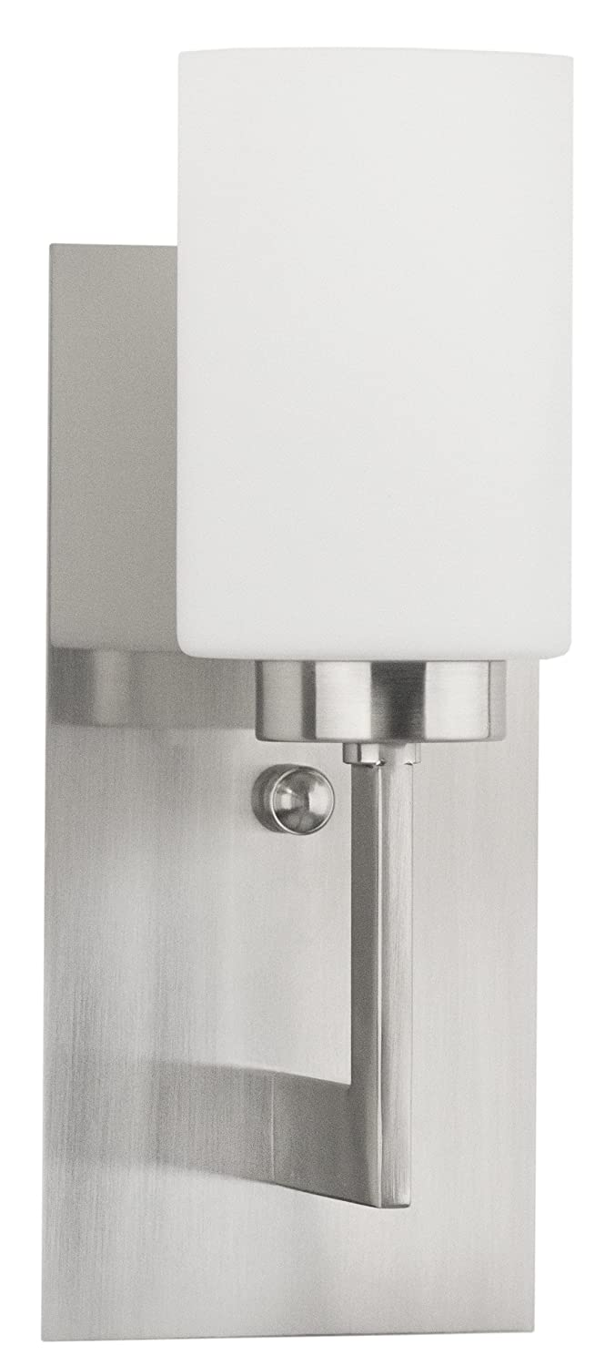 Brio Wall Sconce Light Fixture Brushed Nickel W Frosted Glass - Polished nickel bathroom wall sconces