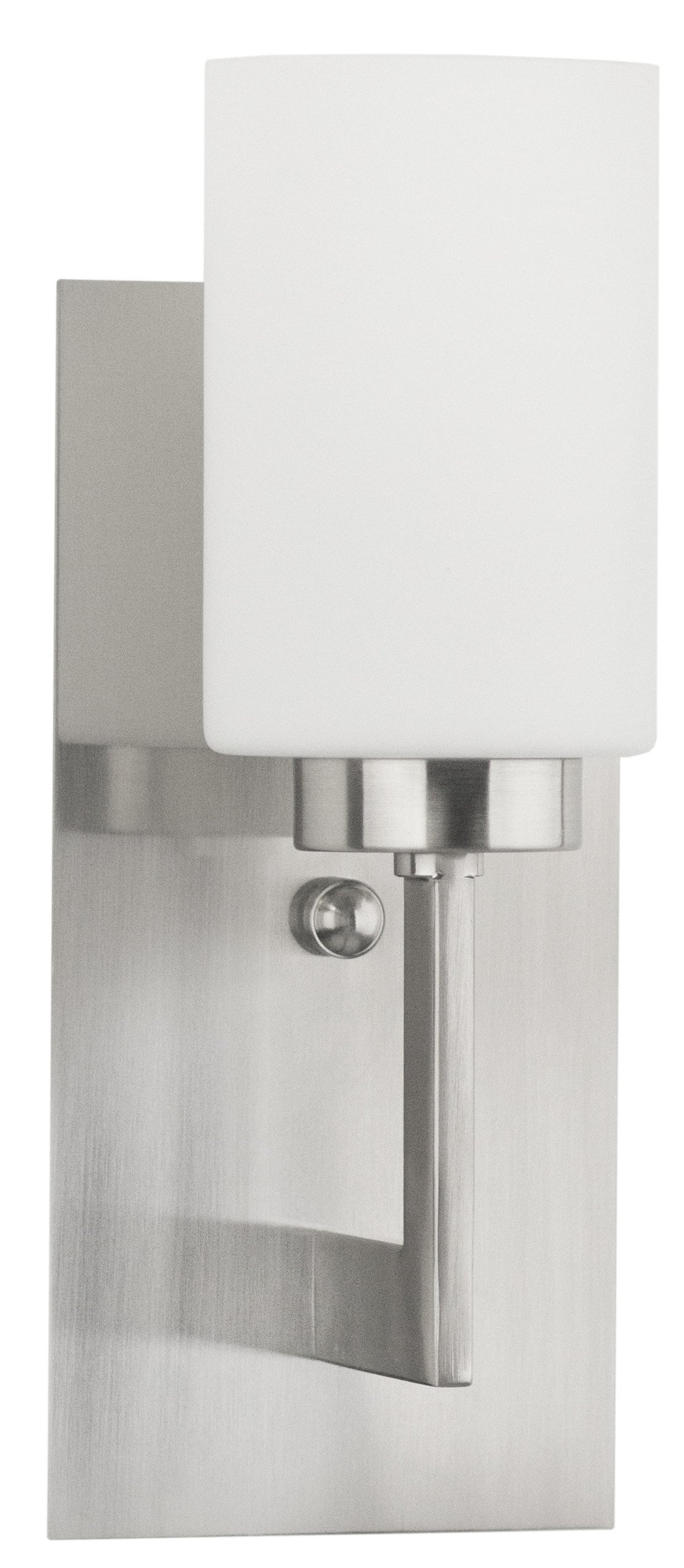 Brio Wall Sconce Light Fixture – Brushed Nickel w/ Frosted Glass Shade - Linea di Liara LL-WL151-BN