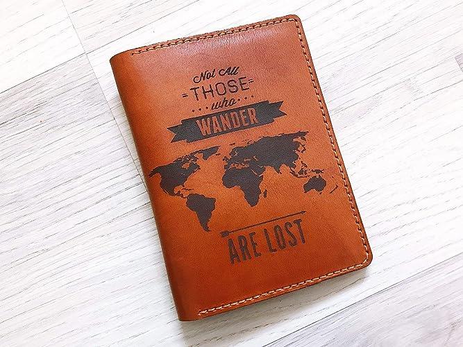 super popular 0dbd0 b8de2 Amazon.com: Wanderlust Passport holder cover wallet case leather ...