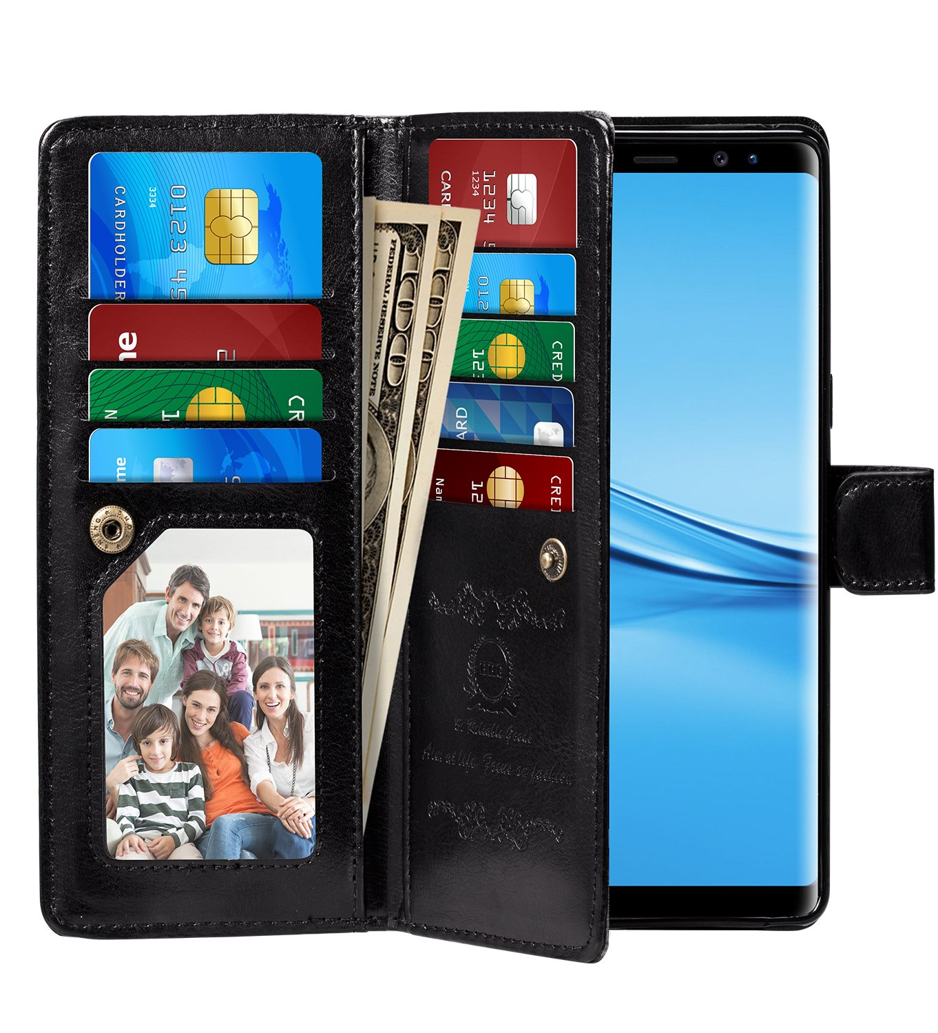 Galaxy Note 8 Case, Pasonomi Note 8 Wallet Case with Detachable SlimCase - [Folio Style] PU leather wallet case with ID&Card Holder Slot Wrist Strap for Samsung Galaxy Note 8 (Black)