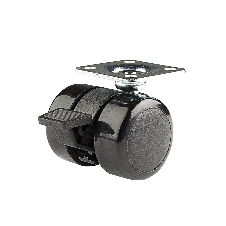 "Twin Wheel Caster Solutions TWUN-37U-P02-BK-B 1.5"" Diameter Urethane Unhooded Brake Twin Wheel Caster, 1.5"" x 1.5"" (BH 1 x 1"") Plate, 110 lb Capacity Range"
